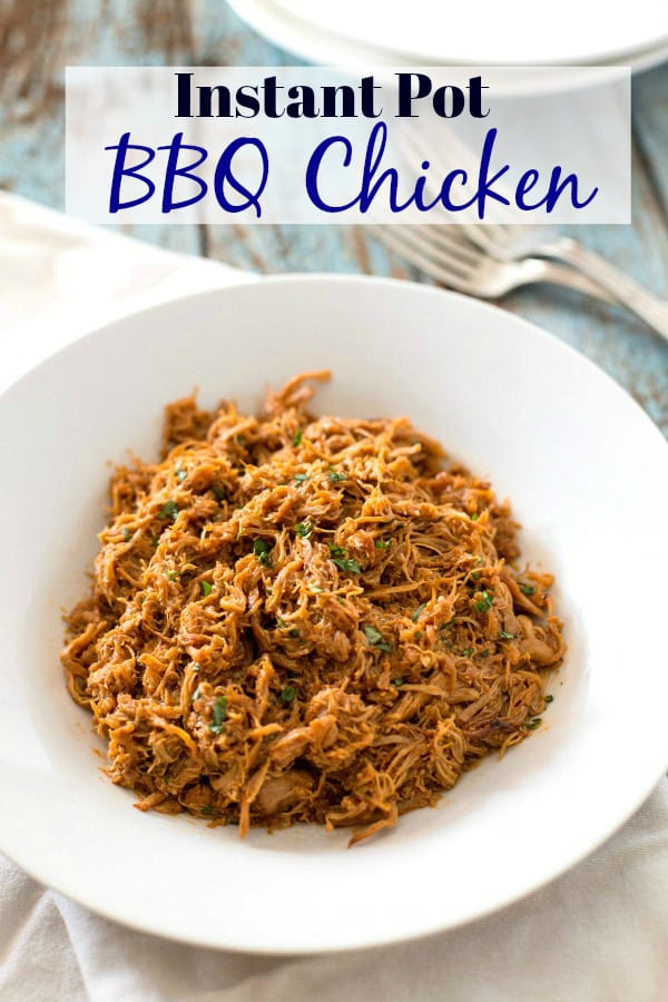 Need a quick and easy dinner on the table in less than 30 minutes?  Make this Instant Pot BBQ Chicken!  Made with flavorful boneless chicken thighs, a few seasonings, and some barbecue sauce, this is one healthy weekday or weeknight meal the whole family will love. #instantpot #bbqchicken #familydinner #tastyeverafter #sundaydinner #easyrecipe #chickenthighs #fastmeal #healthyrecipe #healthyinstantpot #chickenrecipe
