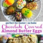 Choclate covered almond butter easter eggs recipe Pinterest PIN