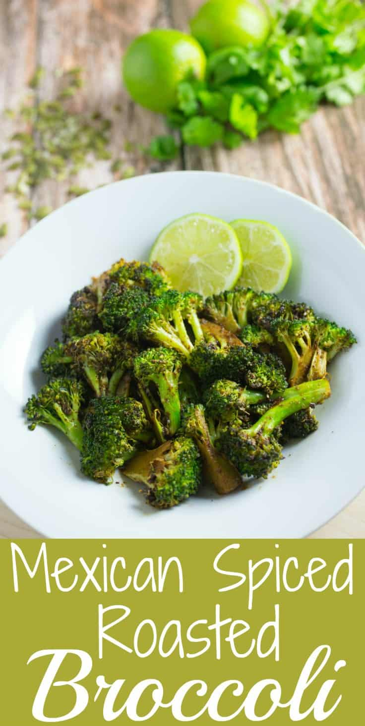 Easy and healthy Mexican spiced veggie side dish that takes less than 30 minutes to make! #Whole30 and #paleo too! #tastyeverafter #vegan #keto #healthy #sidedish #broccoli #healthysidedish #lessthan30minutes #vegetarian #easysidedish