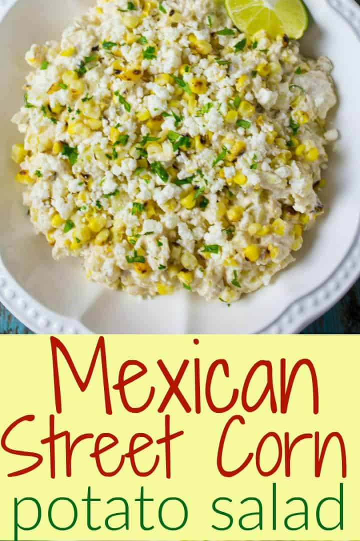 Like Mexican street corn?  Then you'll love this Mexican Street Corn Potato Salad!  Tender cubes of potato and charred sweet corn kernels are coated in a creamy mixture of mayonnaise, sour cream, salty cheese, chilies, garlic, and the tangy zing of lime zest. #mexicanstreetcorn #potatosalad #potluckrecipes #cornpotatosalad #coldsalad #bbqsides #potatorecipe #mexican #tastyeverafter #recipesforacrowd #partyfood #saladrecipe