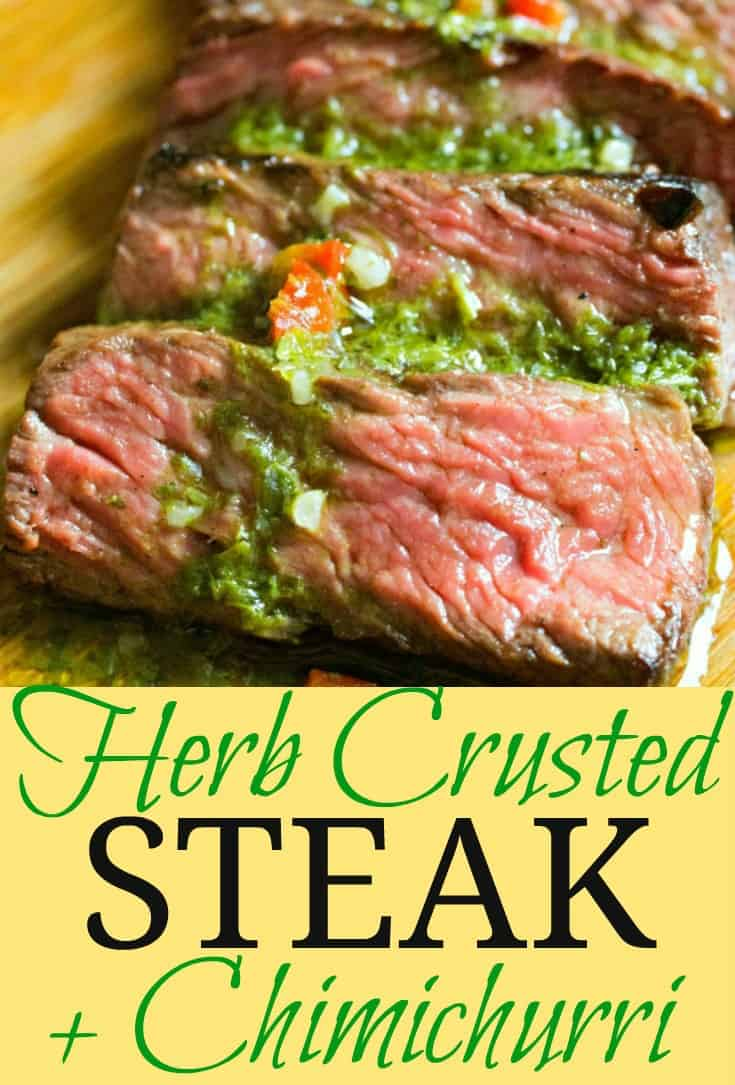 Make Summertime grilling easy and fun with this recipe for Easy Herb Crusted Steak + Chimichurri sauce! #steakrecipe #steakwithsauce #grilling #beef #tastyeverafter #summer #healthyrecipe