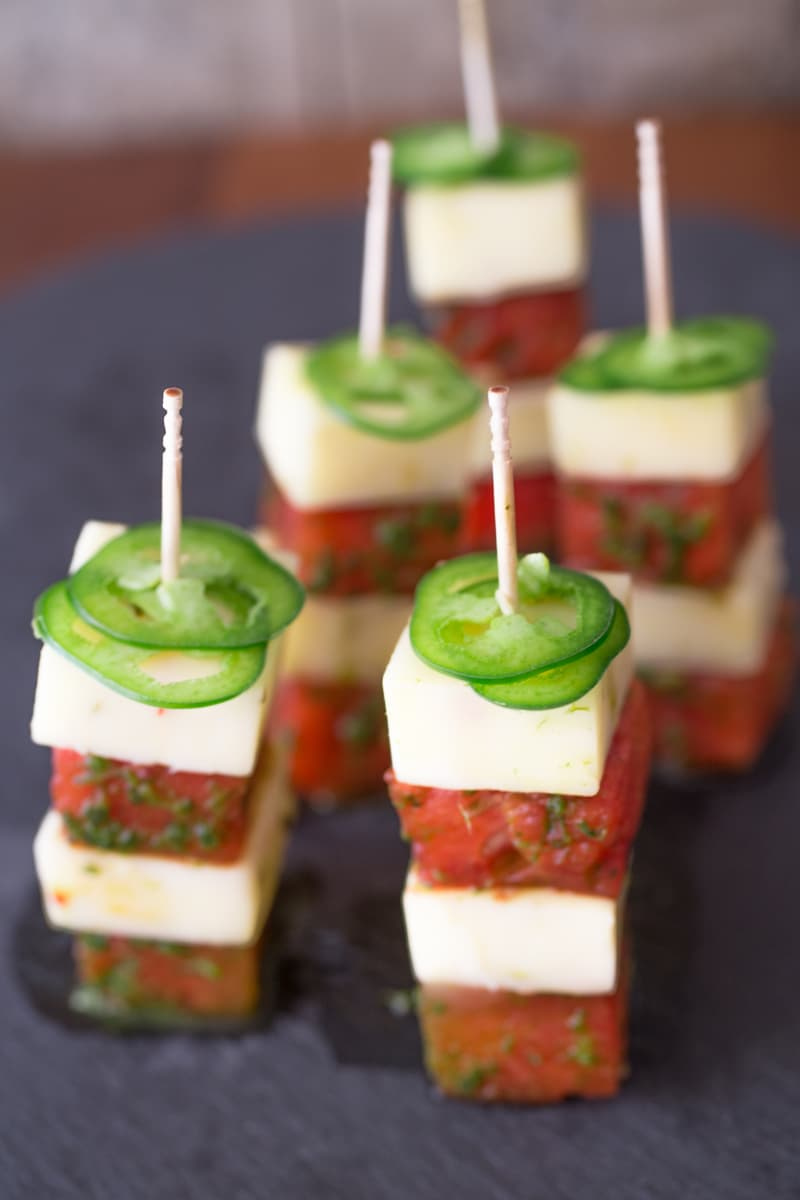 Grilled Watermelon + Jalapeño Jack Cheese Bites Recipe