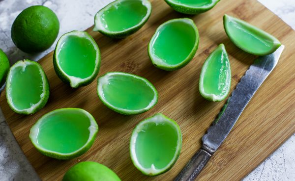 Homemade Margarita jello in hollowed out lime rinds