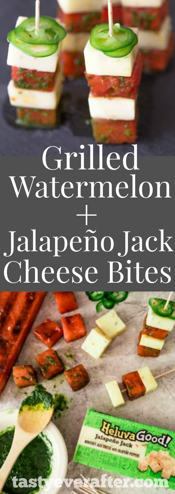 GrilledWatermelonJalapeñoJackBitesPIN - Grilled Watermelon + Jalapeño Jack Cheese Bites Recipe