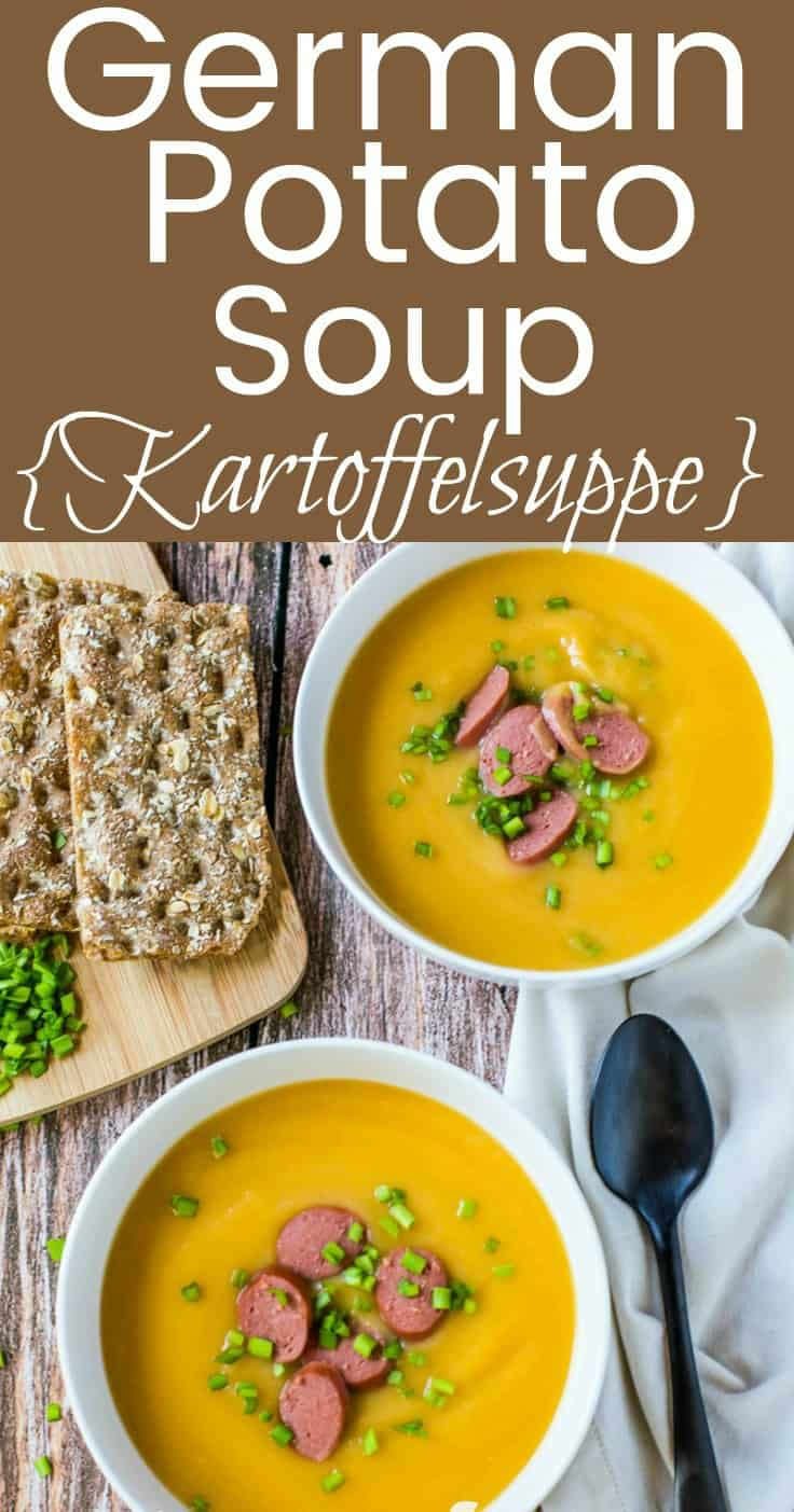Celebrate Oktoberfest with this creamy kartoffelsuppe german potato soup recipe and it's made quick and easy in only 15 minutes with the Instant Pot!  Optional vegan instructions are included. #soup #instantpot #germanrecipe #vegan #tastyeverafter #winterrecipe #creamysoup #potato #dairyfree #glutenfree
