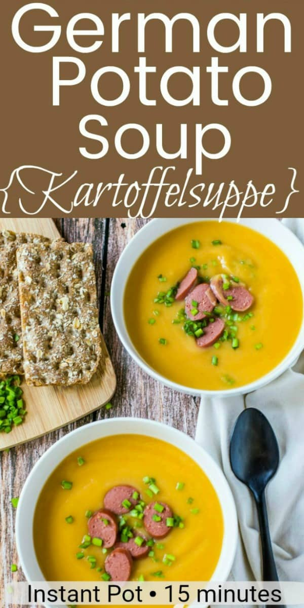 Celebrate Oktoberfest with this creamy kartoffelsuppe german potato soup recipe and it's made quick and easy in only 15 minutes with the Instant Pot!  Optional vegan instructions are included. #soup #instantpot #vegan #tastyeverafter #winterrecipe #dairyfree #glutenfree