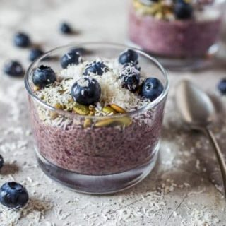 Easy Chia Seed Pudding made with mixed berries and topped with pumpkin seeds