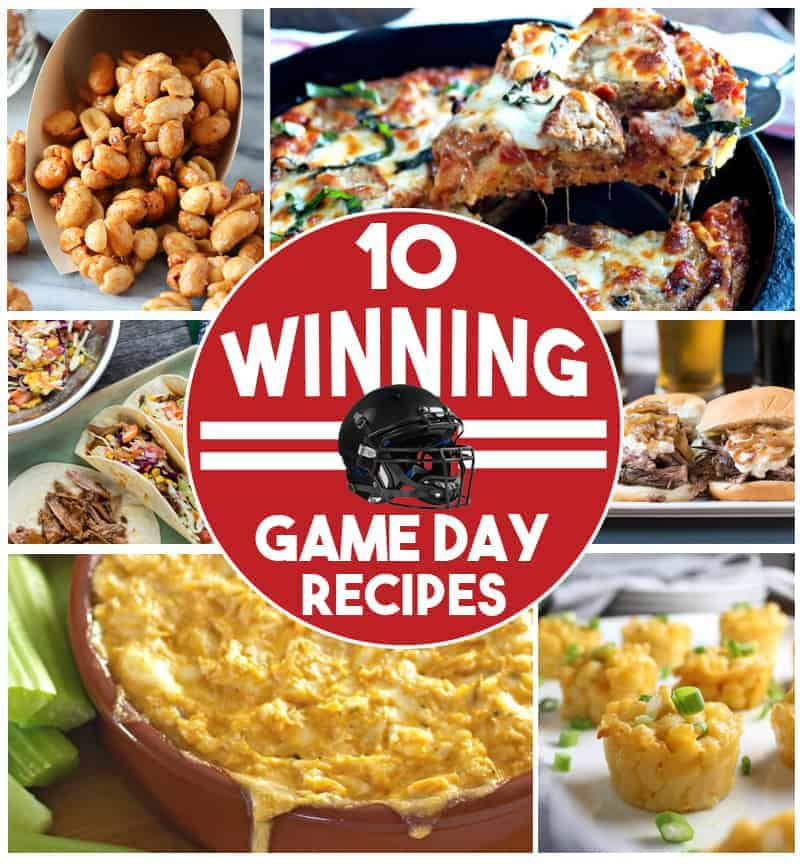 A collage of food images from 10 Winning Game Day Recipes