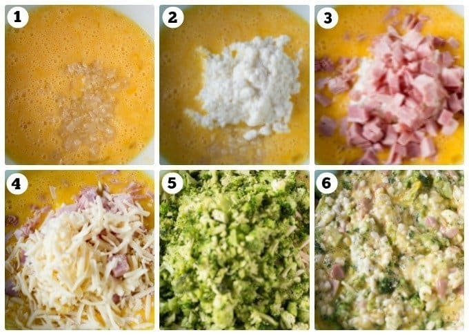 Step by steps photos of a Ham and Broccoli Egg Bake recipe