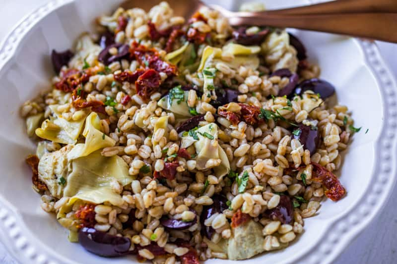 Mediterranean Farro with artichoke hearts, olives, and sun dried tomatoes.