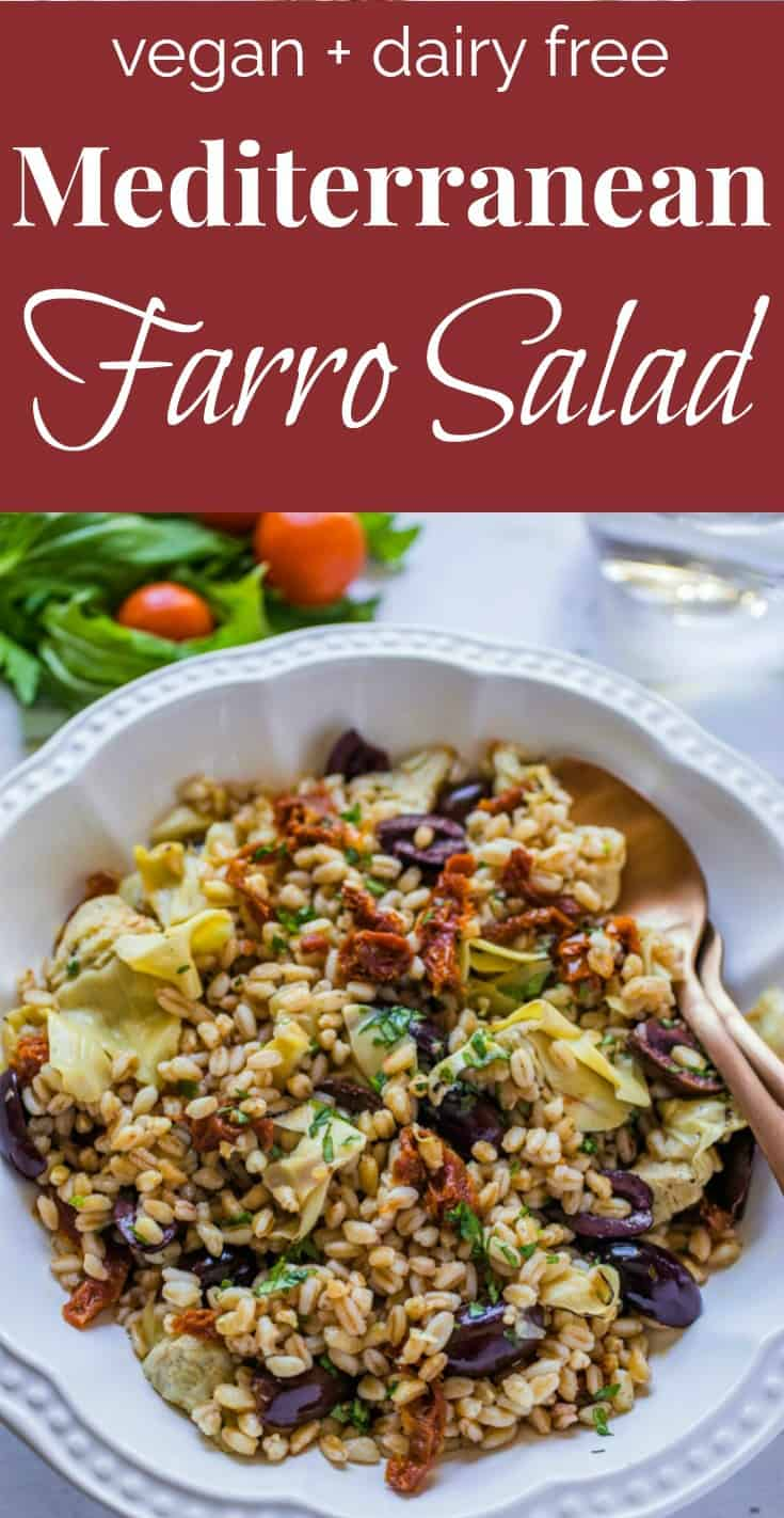 Mediterranean Farro Salad is a delicious side dish or vegan entrée using artichoke hearts, sun dried tomatoes, and kalamata olives in a homemade champagne vinaigrette.  Easy to make and ready to eat in 30 minutes! #vegan #tastyeverafter #salad #easyrecipe #summerrecipe #healthy #vegetarian #sidedish #farrosalad #nomayorecipe