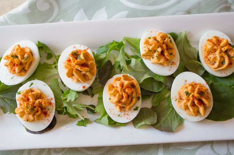 6 of the Best Deviled Eggs on a white plate