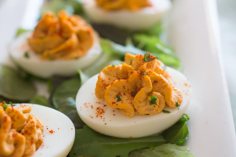 Close up of Best Deviled Eggs on plate