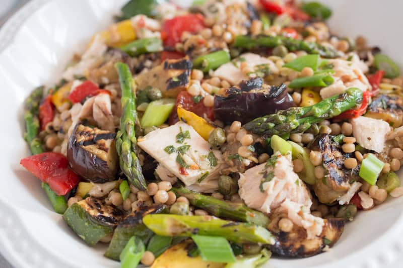Grilled Vegetable Tuna Salad Recipe in a bowl