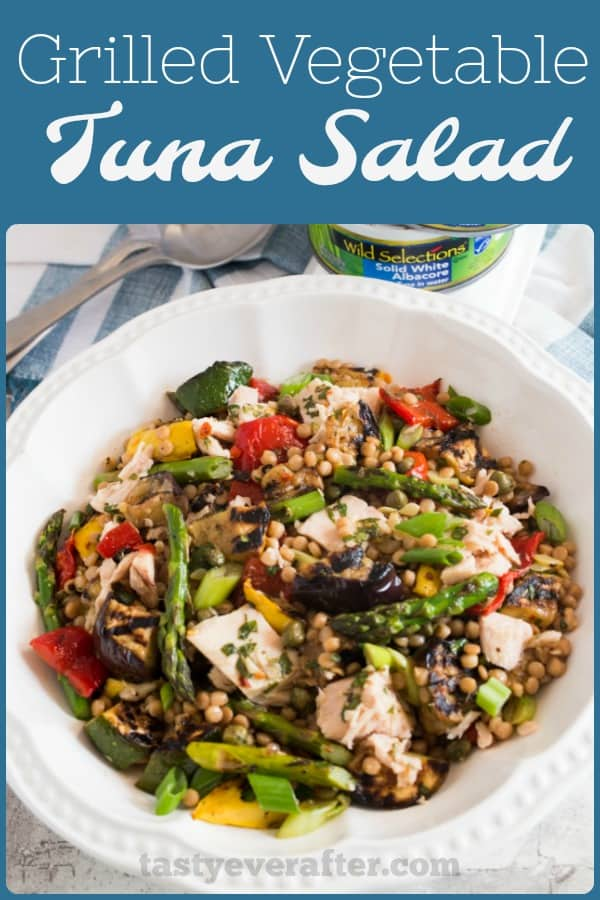 A healthy and mayo-free tuna salad made with sustainable albacore, chargrilled veggies, and Israeli couscous, all tossed in a homemade lemon and fresh herb champagne vinaigrette. #WildSelections #SelectSustainable #tastyeverafter #tunasalad #healthy #saladrecipe #ad #grilledvegetables #seafoodrecipe #summerrecipe #couscous