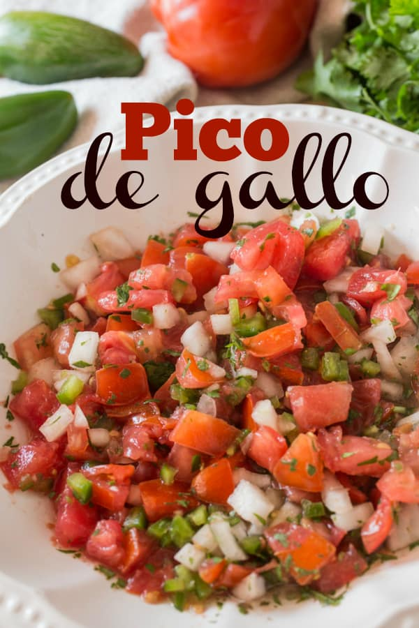 An easy Pico de Gallo made with the summer's freshest vegetables of tomatoes, onions, jalapeños, and cilantro, with a touch of lime juice.  Perfect with all Mexican dishes or whenever you need a fresh tomato salsa!  #salsa #picodegallo #tomatorecipe #summerrecipe #raw #vegan #tastyeverafter #mexican #vegetarian #paleo #keto #whole30
