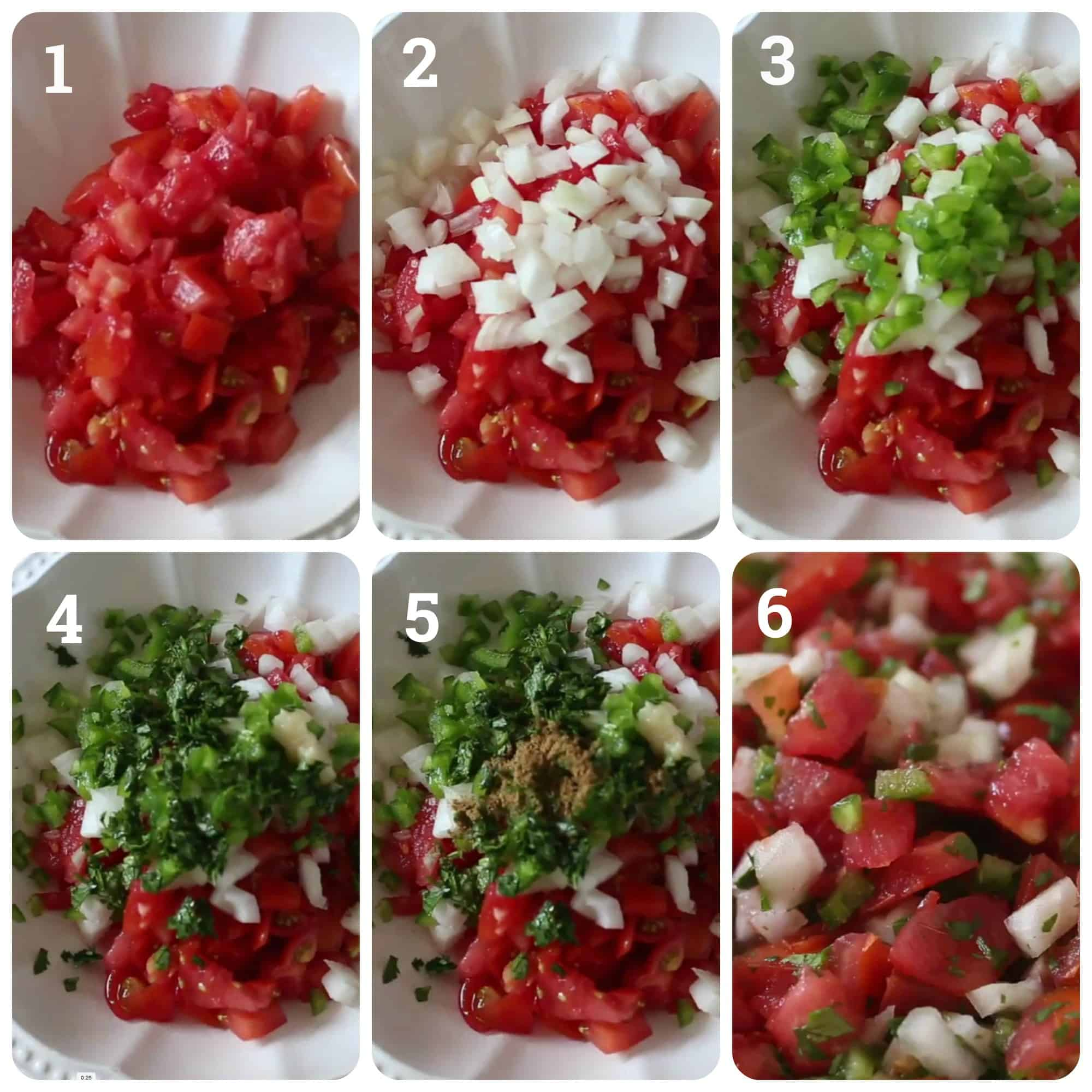 Step by step photos of making pico de gallo salsa