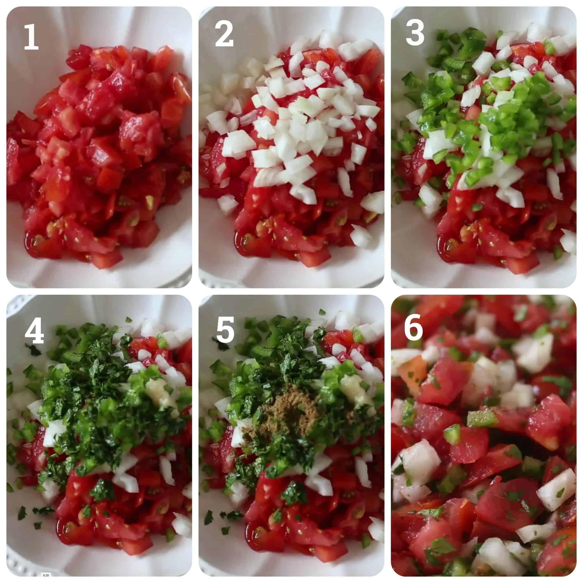 Step by step photos of making pico de gallo salsa