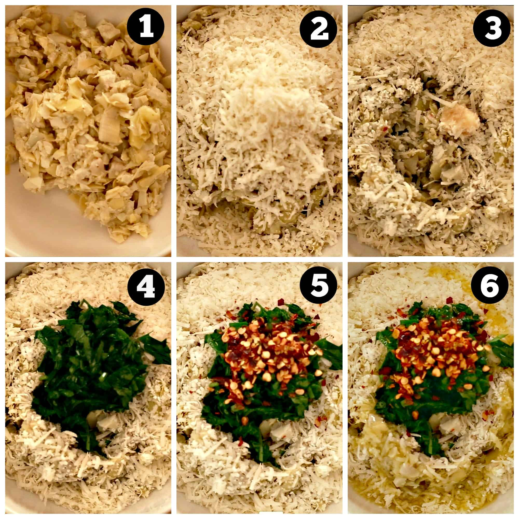 Step by step photos of making an artichoke dip recipe