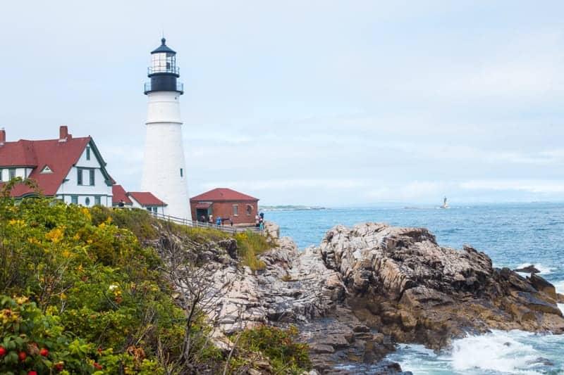 The Portland Head Light, a lighthouse, in Portland Maine.