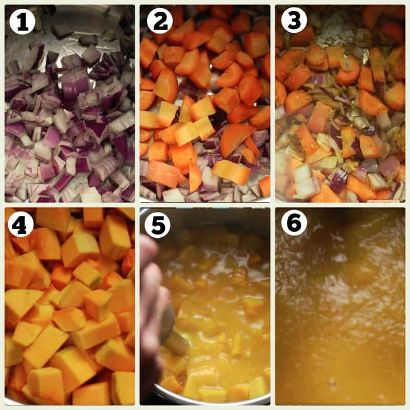 Step by step photos cooking vegetables in an Instant Pot for a vegan soup