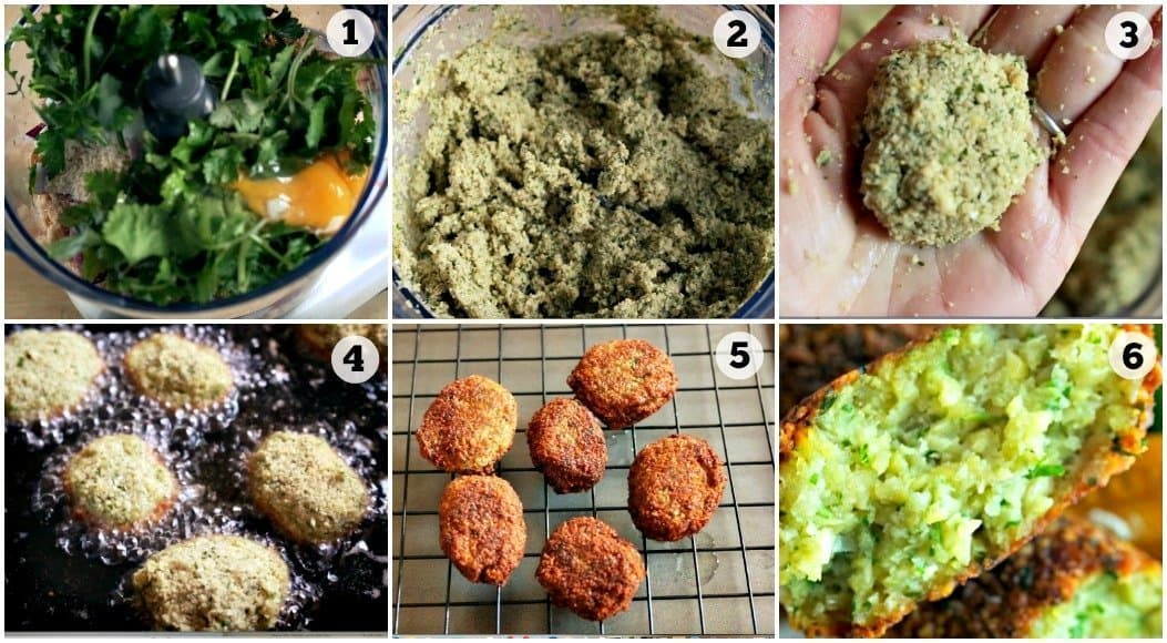 Step by step photos showing how to make easy falafel recipe