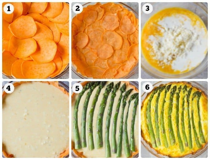 Step by step photos for making asparagus quiche with sweet potato crust.