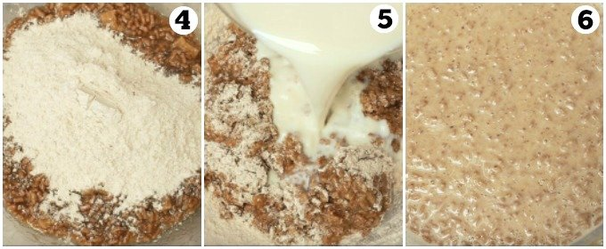 Step by step photos combining dry and wet ingredients to make batter for bran muffin recipe