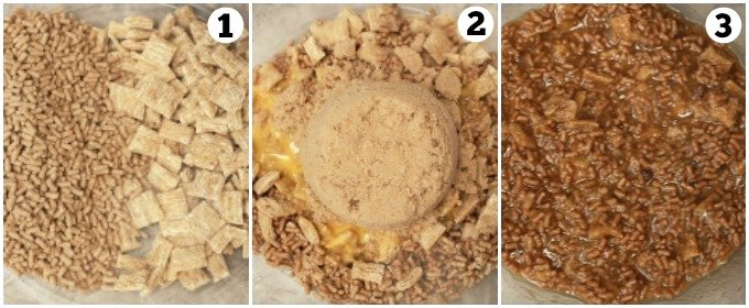 Step by step photos combining dry ingredients for cereal muffin batter