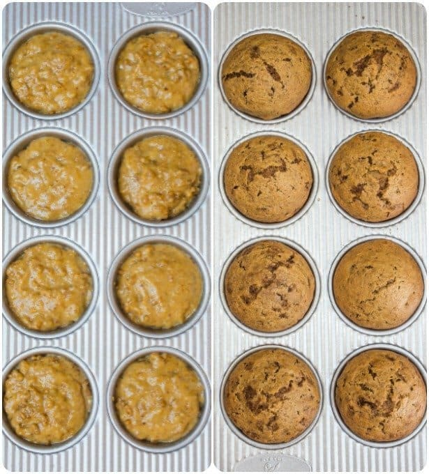 Uncooked and cooked bran muffin recipe side by side in baking pans