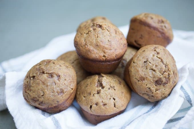 A basket of fresh baked bran muffin recipe piled high