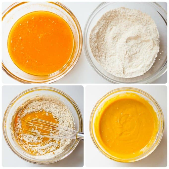 Step by step process of mixing pumpkin batter