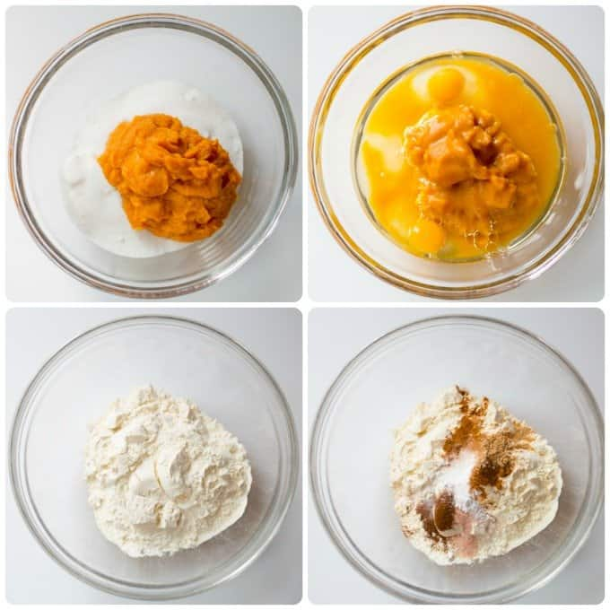 Step by step process of mixing together moist and dry ingredients for an easy pumpkin bread recipe