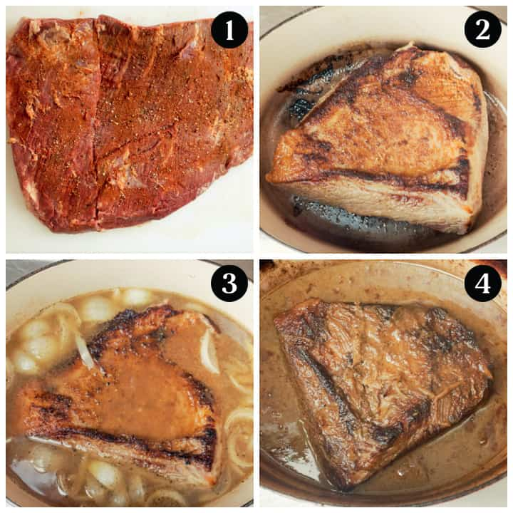 Step by step cooking photos of how to braise a beef brisket in the oven.