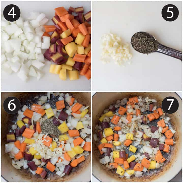 Step by step photos of diced white onion and carrots with minced garlic and dried thyme sauteed in a pot.
