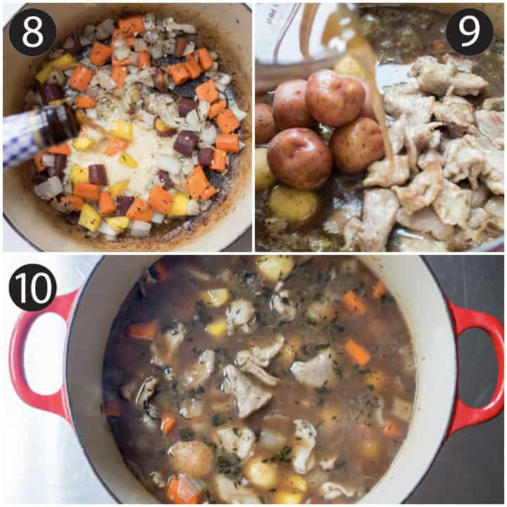How to make lamb stew step by step photos of pouring stout beer and beef broth in the pot.