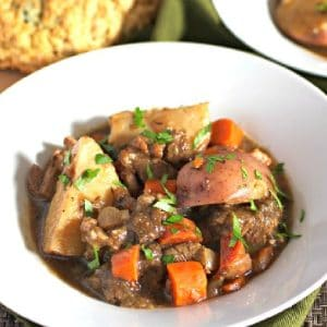 Irish Lamb stew in a white Bowl