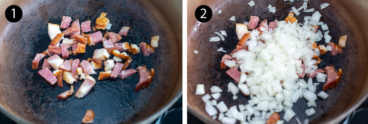 Cooking diced bacon and chopped yellow onion in a heavy bottomed pot.