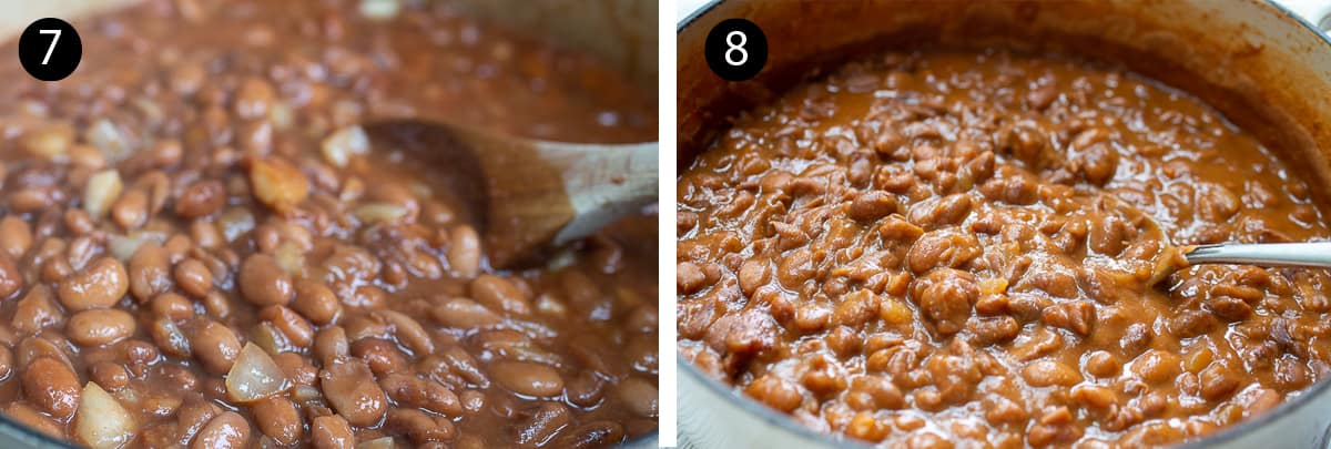 Showing stages of BBQ beans cooking in a large pot with a wooden spoon and a silver serving spoon.