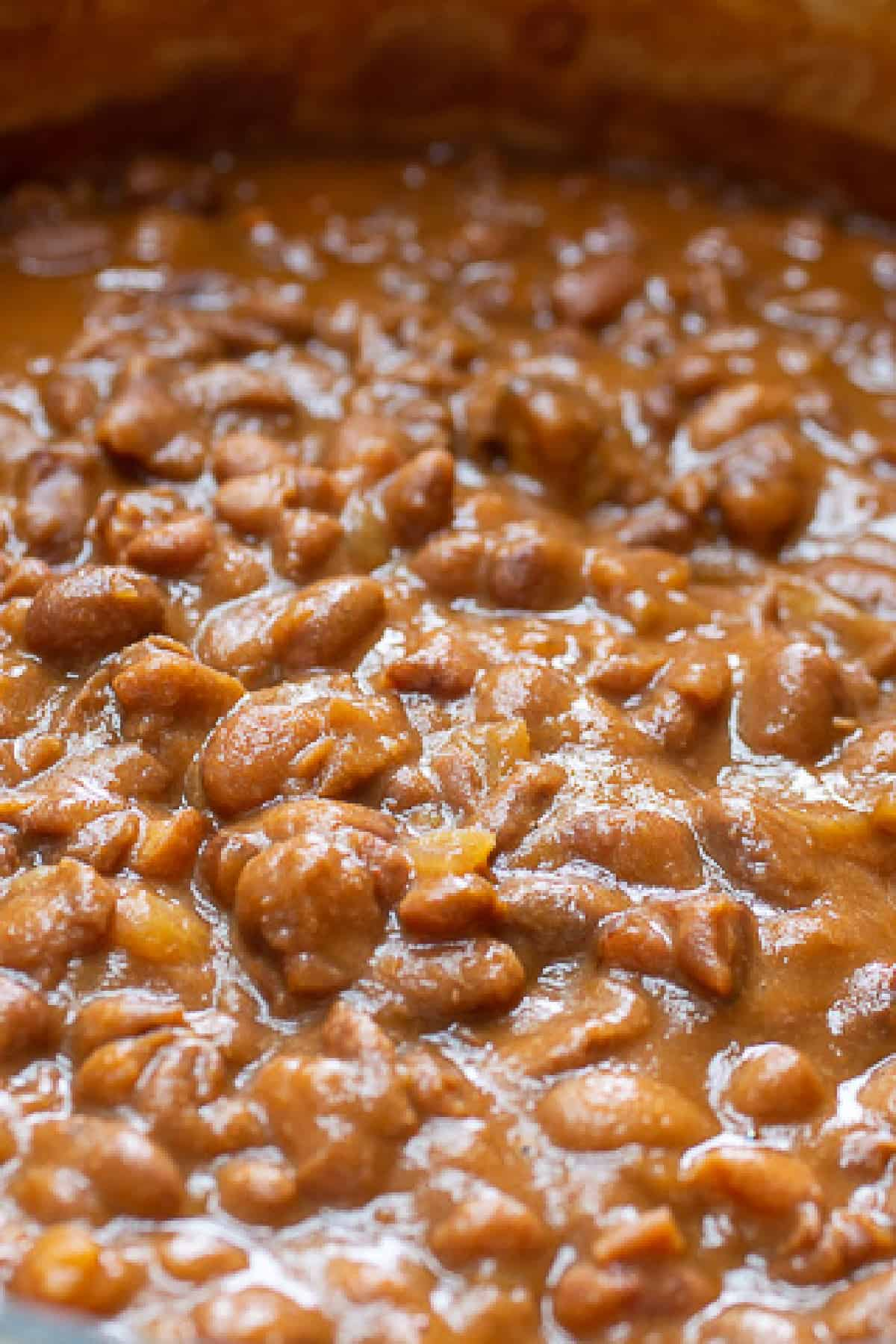 Close up of best baked beans in a pot  after cooking and ready to serve.